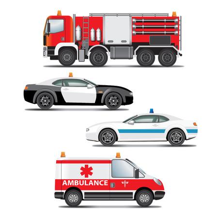 緊急輸送のアイコンのセットです。 火災トラック、救急車、警察の車