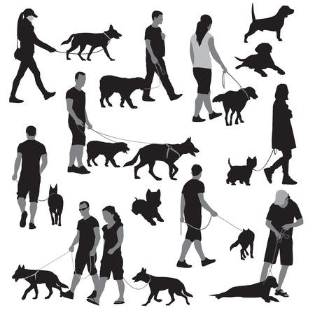 caminar: Caminando la gente con los perros ilustraci�n Vectores