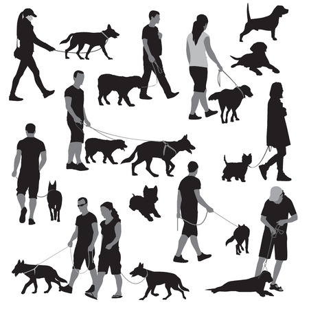 dog leashes: Walking people with dogs illustration