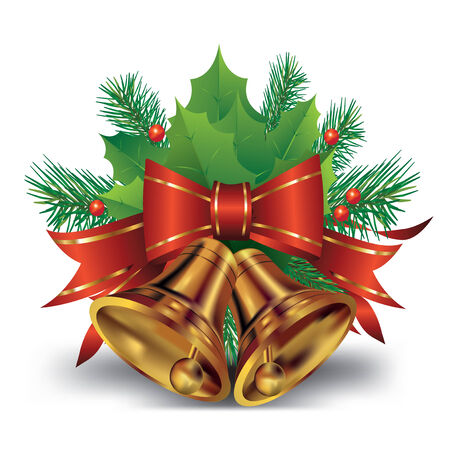 holly leaves: Christmas bell with bow and christmas tree decorations. Vector illustration