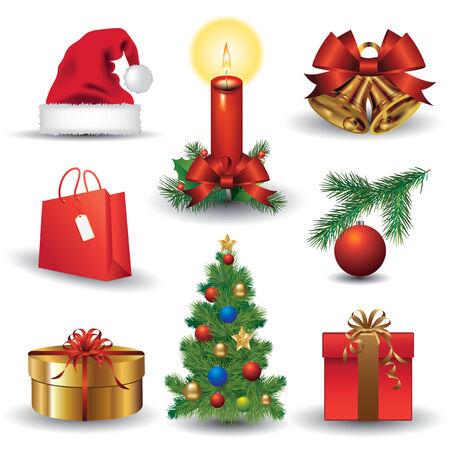 velas de navidad: Conjunto de iconos de la Navidad. Vestor ilustración