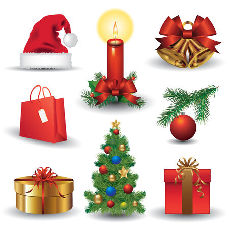 Set of Christmas icons. Vestor illustration