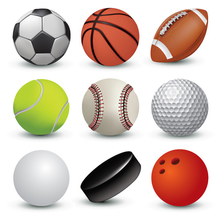 Sport balls on white background. Vector illustration