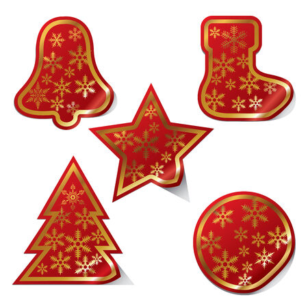 snow flake: Set of Christmas stickers. Vector illustration Illustration