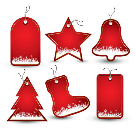 price tags: Set of red Christmas tags. Vector illustration