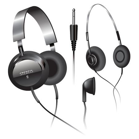 phone cord: Headphones on white background. Vector illustration