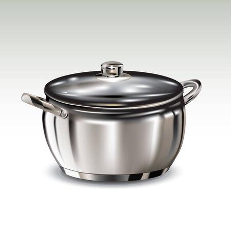 utensilios de cocina: Olla de acero inoxidable aislado en el fondo. Ilustración vectorial