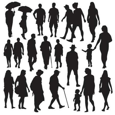 Conjunto de siluetas de personas caminando. Ilustración vectorial