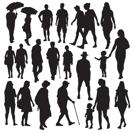 young business man: Set of walking people silhouettes. Vector illustration