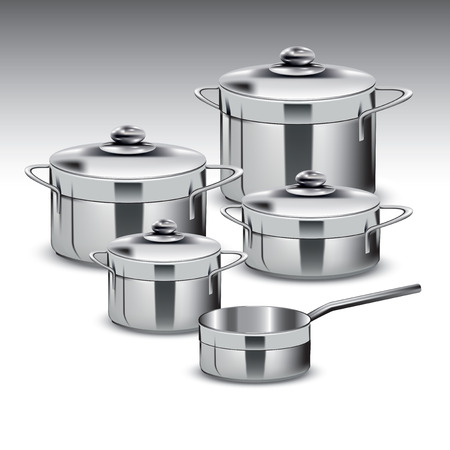 tarnish: Group of stainless steel kitchenware isolated on white. Vector illustration