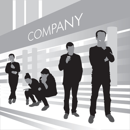 Smokers outside the company building. Vector illustration Vector