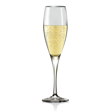 gold flute: Glass of champagne.  Illustration