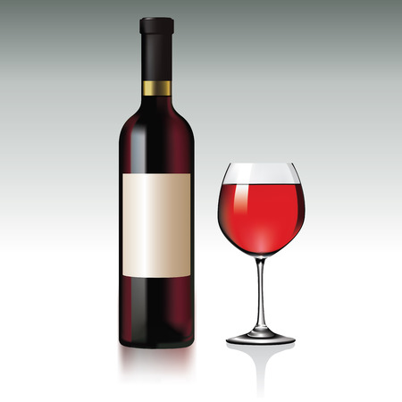 Red Wine bottle and glass.  Vector