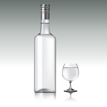 vodka bottle: Bottle of vodka and shot glass.