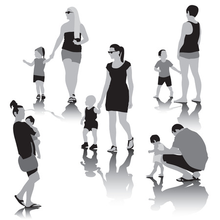 family together: Famiglia felice insieme. Illustrazione vettoriale