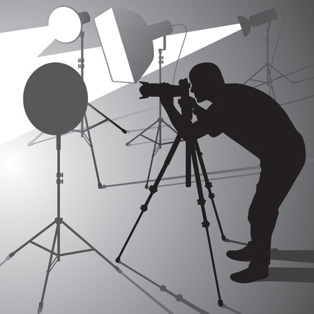 Photographer at work in studio. Vector illustration