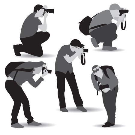Photographers with equipment at work. Vector illustration