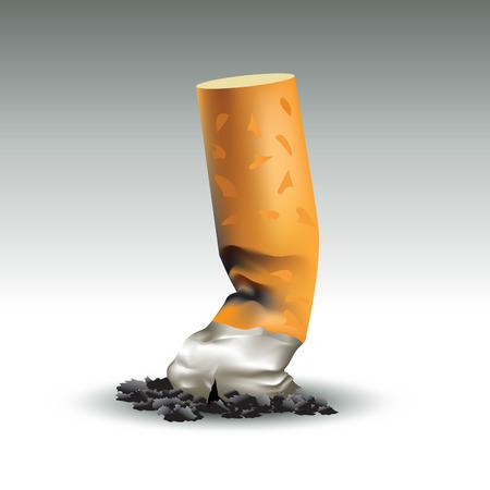 cigarette pack: Burned cigarette. The last cigarette concept. Vector illustration