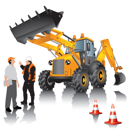 wheel loader: Excavator and workers isolated on white bacckground. Vector illustration.