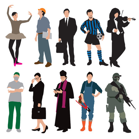 woman engineer: Different types of workers isolated on white background. Vector illustration Illustration