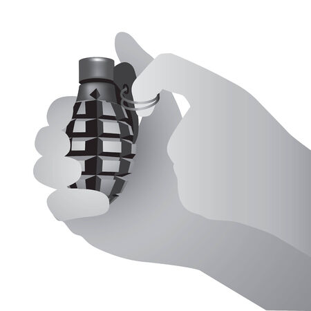 A pair of hands prepares to pull the pin on a grenade. Vector illustration Illustration