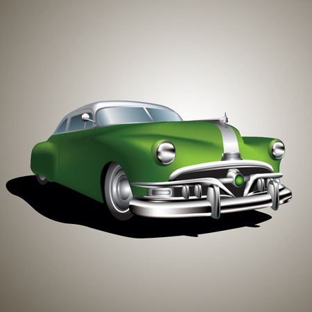 Old vintage car isolated on background.  Vector