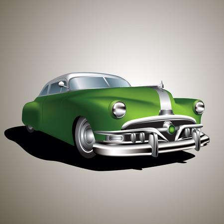 Oude vintage auto die op de achtergrond. Vector Illustratie