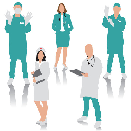 Set of medical people. Doctor, surgeons and nurse.  Vettoriali