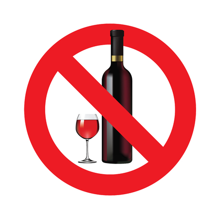 alcoholism: No alcohol sign isolated on white background.