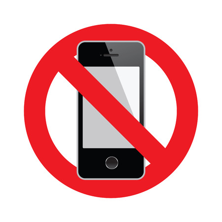 no cell phone: No cell phone sign isolated on white background.  Illustration
