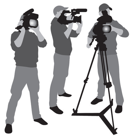 camera operator: Video camera operator working with his professional equipment isolated on white background.