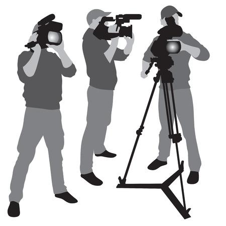 professional equipment: Video camera operator working with his professional equipment isolated on white background.