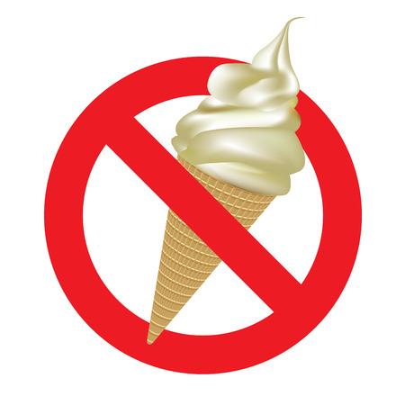 no color: Sign no ice cream. Vector color illustration on white background. Illustration