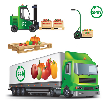 agrimotor: Fresh fruit and vegetables delivery. Vector color illustration on white background.
