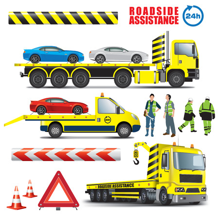 Roadside assistance. Car towing truck icon. Vector color illustration on white background.