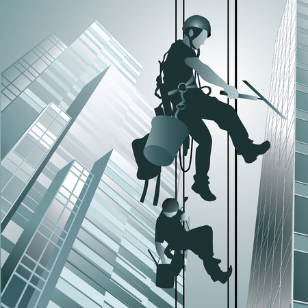 Climbers on clean glass skyscraper isolated on background. Vector illustration Ilustração