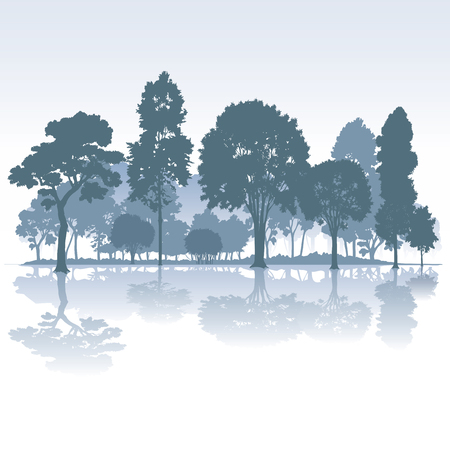 tranquil scene on urban scene: Park with trees isolated on background. Vector illustration