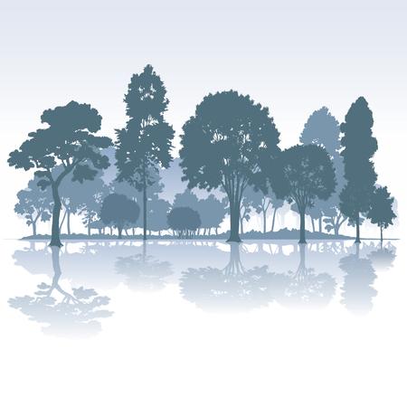arbol de la vida: Parque con �rboles aislados en el fondo. Ilustraci�n vectorial