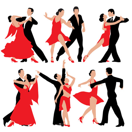 Set of dancing people silhouettes. Vector illustration Çizim