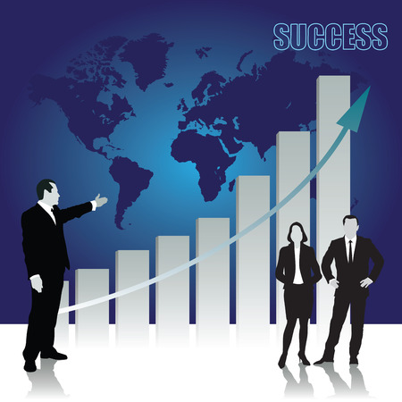 triumph: Successful business team celebrating their triumph with graph. Vector illustration