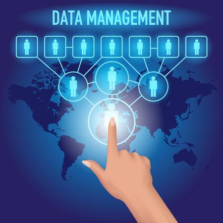 unify: Data management platform concept. Hand press icon on a futuristic virtual screen. Vector illustration Illustration