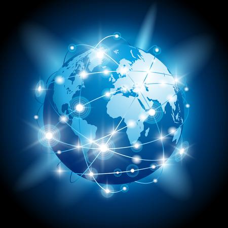 通訊: 全球業務的互聯網概念。矢量插圖