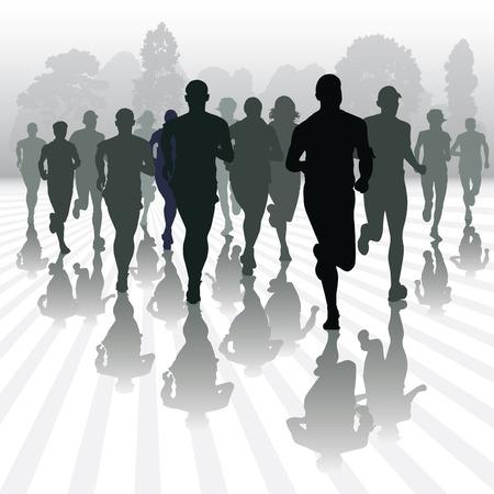 Bieganie ludzi w parku. Ilustracji wektorowych