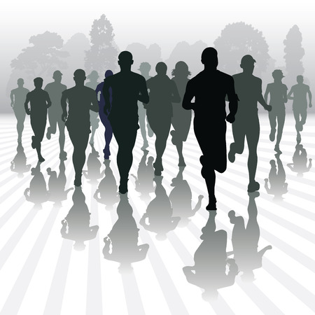 running silhouette: Running people in the park. Vector illustration