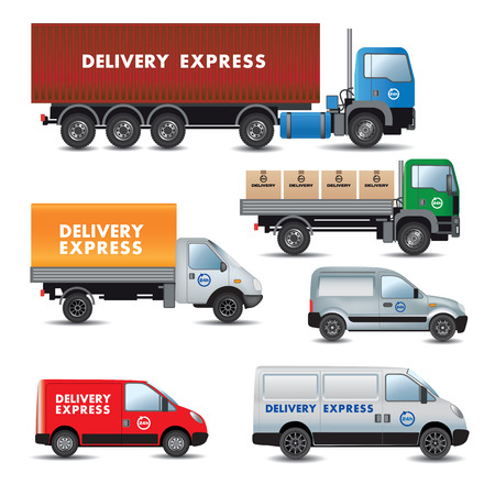 web side: Env�o expr�s. Conjunto de coches de entrega. Ilustraci�n vectorial
