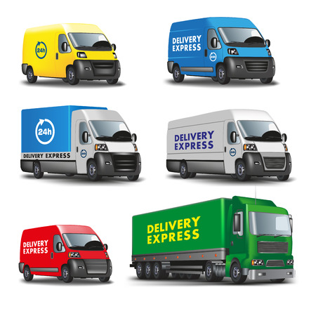 trucking: Delivery express. Set of delivery cars. Vector illustration