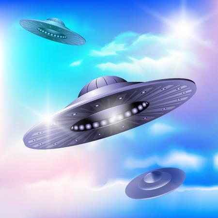 ufology: UFO che vola in un cielo. Invasione aliena. Illustrazione vettoriale