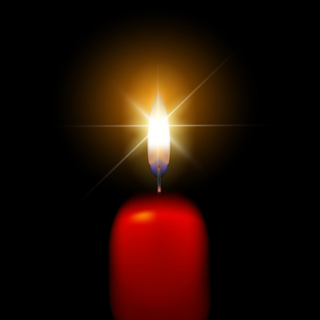 One candle flame at night closeup - isolated, macro. Vector illustration Illustration