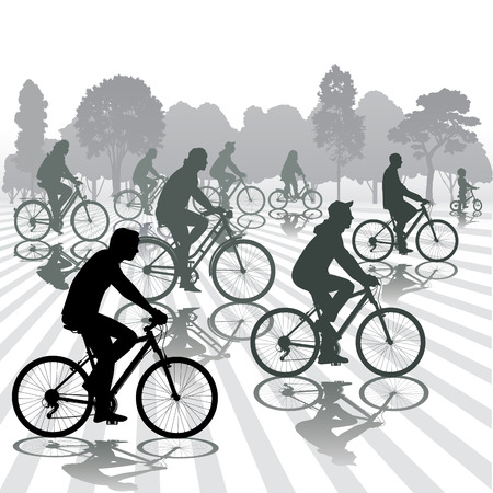 Cyclists silhouettes. Active people biking in the park. Vector illustration Vector