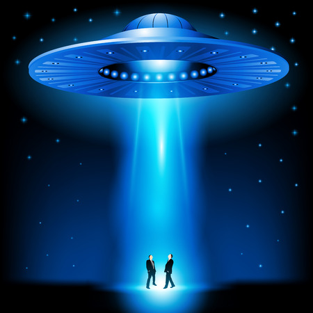 Flying saucer arrived at night. Vector illustration Vettoriali
